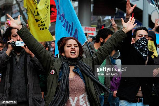 Demonstrators protest a new law that allows further limitations on the use of the Internet in Turkey The demonstrators chanted antigovernment slogans...