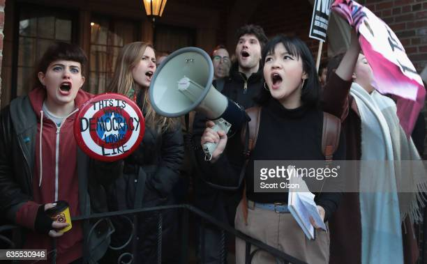 Demonstrators protest a visit by Corey Lewandowski, President Donald Trump's former campaign manager, at the University of Chicago on February 15,...