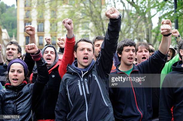 Demonstrators protest after the Ertzaintza Basque Police arrested six members of the Basque proindependence youth organization SEGI in the northern...