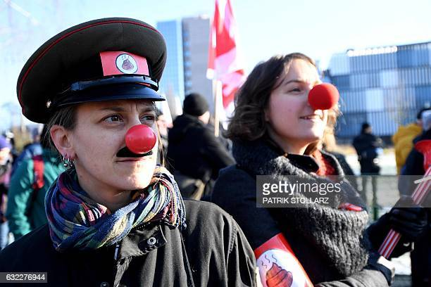 Demonstrators protest against a meeting of the main leaders of Europe's populist and farright parties in Koblenz western Germany on January 21 2017...