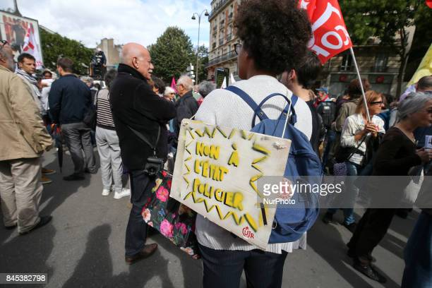 Demonstrators protest against a new antiterror draft law and denounce what they call a quotpermanent state of emergencyquot in Paris on September 10...