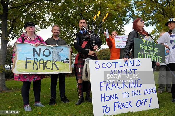 Demonstrators protest against fracking outside Grangemouth as the first shipment of shale gas from the United States arrived in Britain on September...