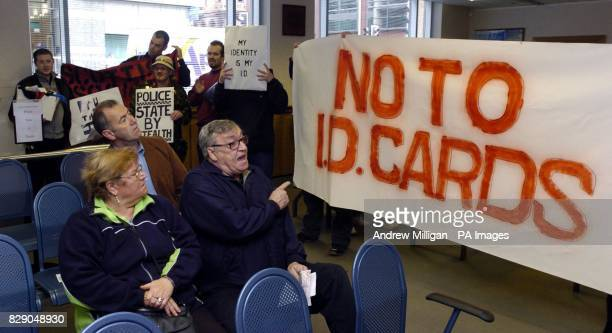 Demonstrators protest against identity card at the DVLA office in Glasgow. The Government intends to introduce a national compulsary ID cards scheme...