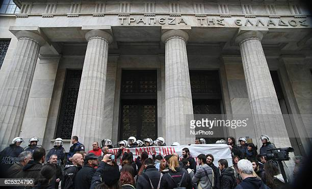 Demonstrators protest against real estate auctions in Thessaloniki Greece on November 23 2016