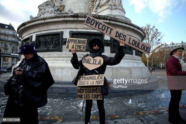 Demonstrators protest against sexual violence on women in Paris France on November 25 2017 during the International Day for the Elimination of...