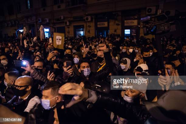 Demonstrators protest against the economic consequences of the lockdown on October 26, 2020 in Naples, Italy. The protest against the economic...