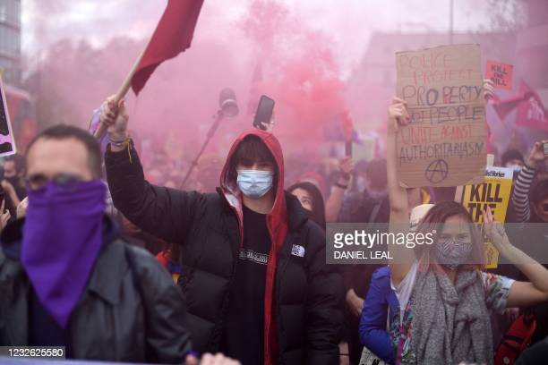 "Demonstrators protest against the Police, Crime, Sentencing and Courts Bill 2021 in central London on May 1, 2021. - Previous ""Kill the Bill""..."