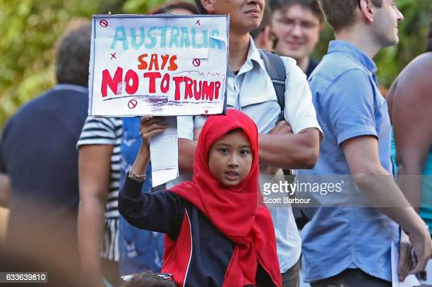 Demonstrators protest against US President Donald Trump's ban on people from seven Muslimmajority countries entering the US on February 3 2017 in...