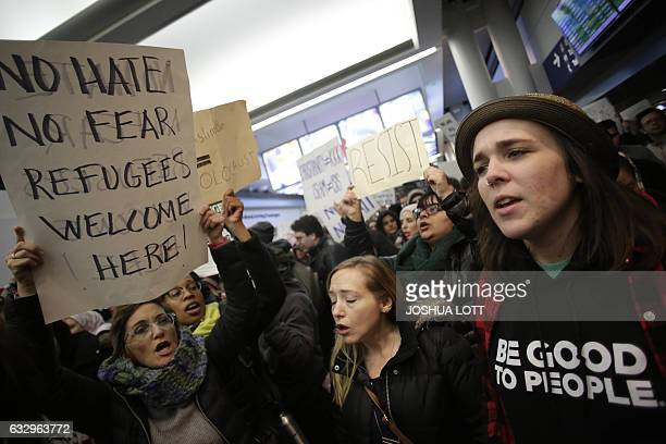 Demonstrators protest agaist President Trump's executive immigration ban at Chicago O'Hare International Airport on January 28 2017 US President...