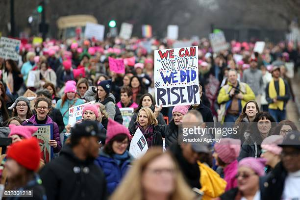 Demonstrators protest around the National Mall in Washington DC for the Women's March on January 21 2017