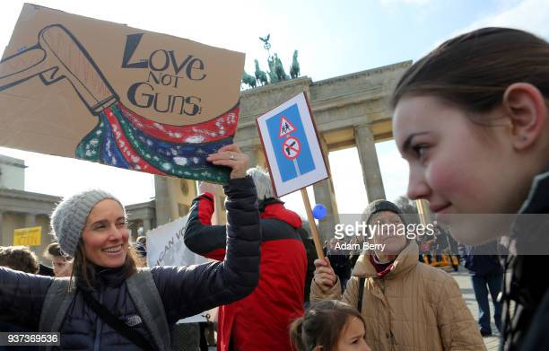 Demonstrators protest at the March for our Lives demonstration on March 24 2018 in Berlin Germany The protest in Berlin was intended to show...