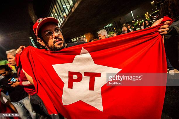 Demonstrators protest calling against Brazil's President Dilma Rousseff's impeachment in Sao Paulo Brazil May 9 2016 The impeachment of Brazilian...