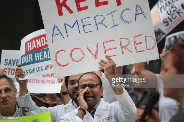 Demonstrators protest changes to the Affordable Care Act on June 22 2017 in Chicago Illinois Senate Republican's unveiled their revised healthcare...