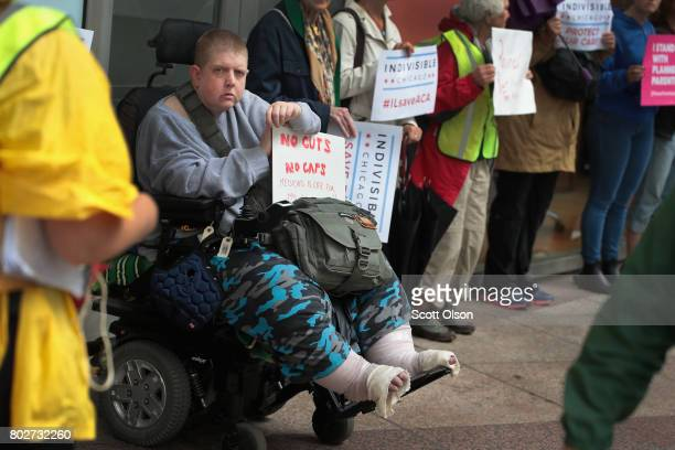 Demonstrators protest changes to the Affordable Care Act on June 28 2017 in Chicago Illinois After more senators said they would not offer support...