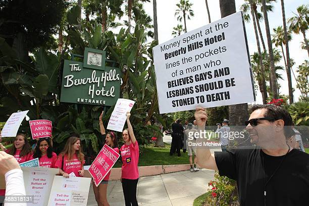 Demonstrators protest draconian punishment of women and gay people announced by the Sultan of Brunei near the entrance to the Beverly Hills Hotel...