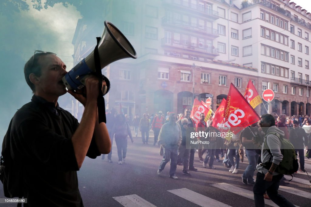 Demonstration In Strasbourg Against Government Policy : News Photo
