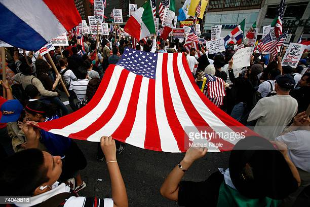 Demonstrators protest during an immigration reform rally in Union Square on May 1 2007 in New York City The protest was one of many held around the...