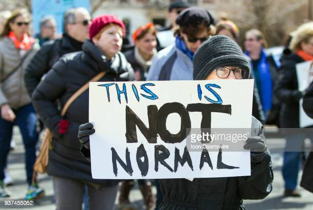 Demonstrators protest during the March For Our Lives Rally on March 24 at the Connecticut State Capitol in Hartford CT