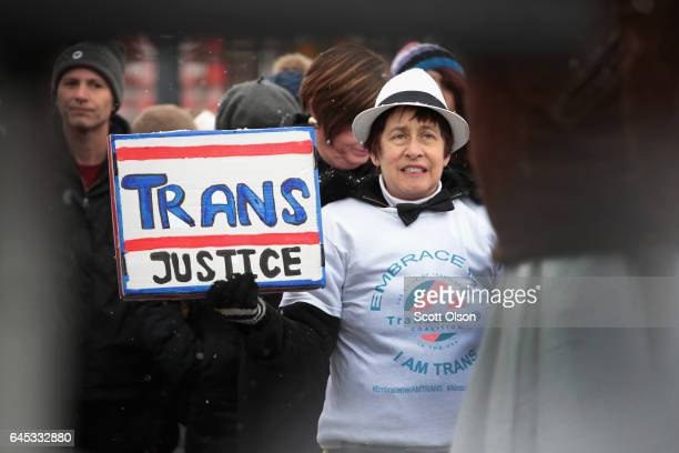 Demonstrators protest for transgender rights on February 25 2017 in Chicago Illinois The demonstrators were angry with President Donald Trumps recent...