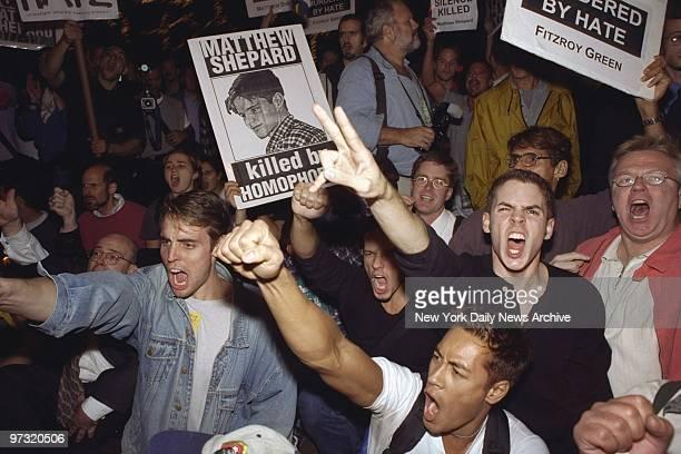 Demonstrators protest hate killing of gay student Matthew Shepard