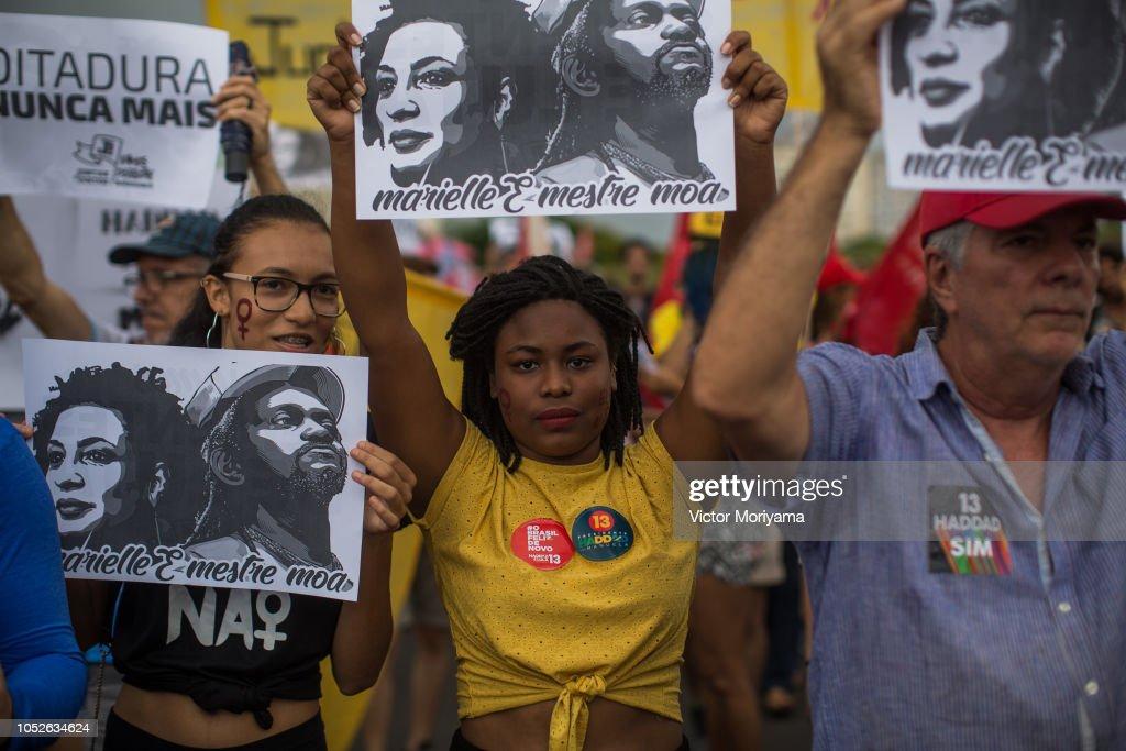 Protestors Rally Across Brazil Against Presidential Candidate Jair Bolsonaro : News Photo