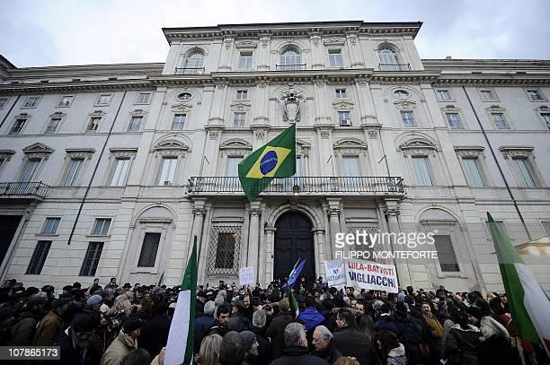 Demonstrators protest in front of Brazil's embassy afgainst Brazilian President Lula's refusal to extradite ex-militant Cesare Battisti on January 4,...
