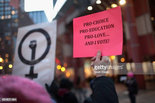 Demonstrators protest in front of the Thompson Center to voice their support for Planned Parenthood and reproductive rights on February 10 2017 in...