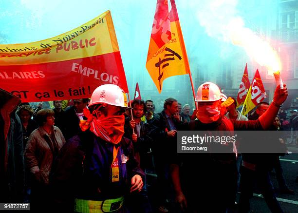 Demonstrators protest in Paris France Tuesday October 4 2005 French trains buses and airline services were disrupted and union leader Bernard...