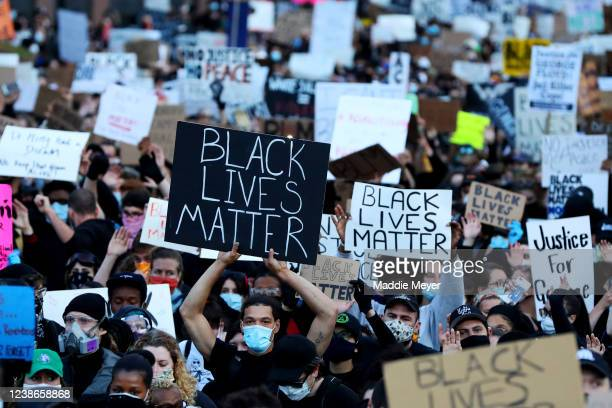 Demonstrators protest in response to the recent death of George Floyd on May 31 2020 in Boston Massachusetts Protests spread across cities in the US...