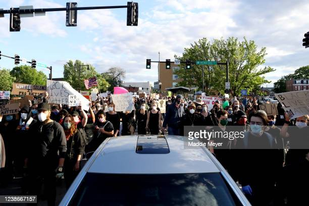 Demonstrators protest in response to the recent death of George Floyd on May 31, 2020 in Boston, Massachusetts. Protests spread across cities in the...