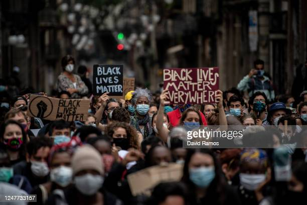 Demonstrators protest in Sant Jaume square on June 07 2020 in Barcelona SpainThe death of an AfricanAmerican man George Floyd while in the custody of...