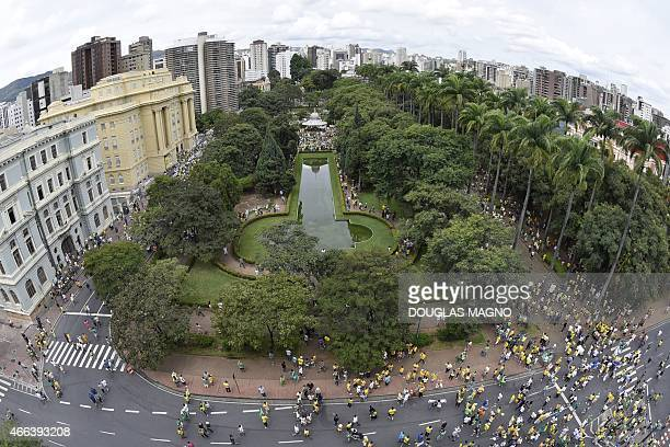 Demonstrators protest in support of democracy and ethics in Brazilian politics and against corruption at Liberty Square in Belo Horizonte Brazil on...