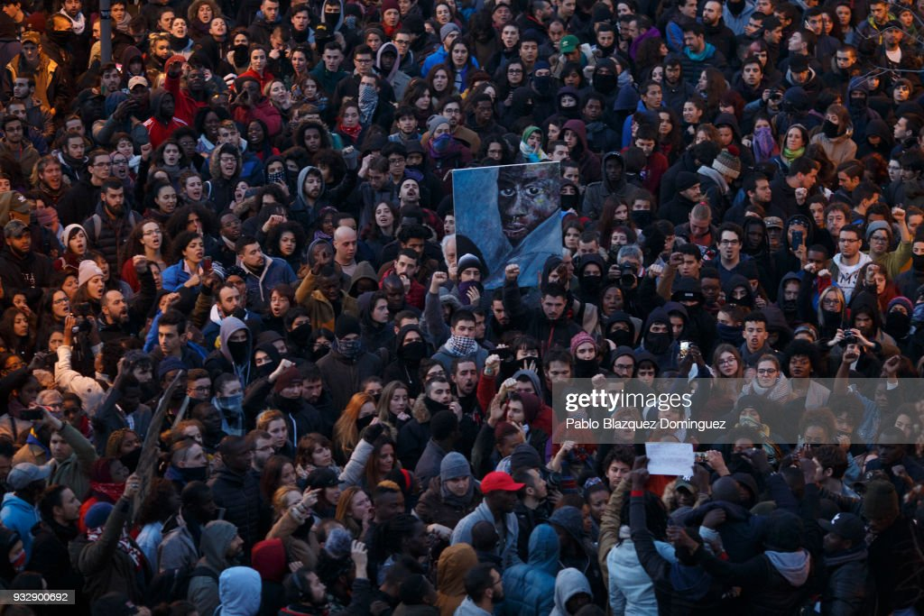 Madrid Protest After Death Of Immigrant Street Vendor