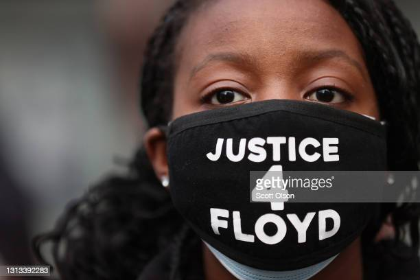 Demonstrators protest near the Hennepin County Courthouse on April 19, 2021 in Minneapolis, Minnesota. The jury began deliberating today at the...