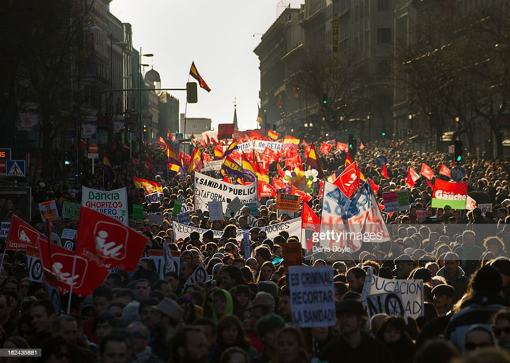 Demonstrators protest on Calle Alcala during a march by thousands of people on February 23, 2013 in Madrid, Spain. Public health workers, civil servants and disaffected citizens converged on central Madrid to protest against the austerity measures of Prime Minister Mariano Rajoy.