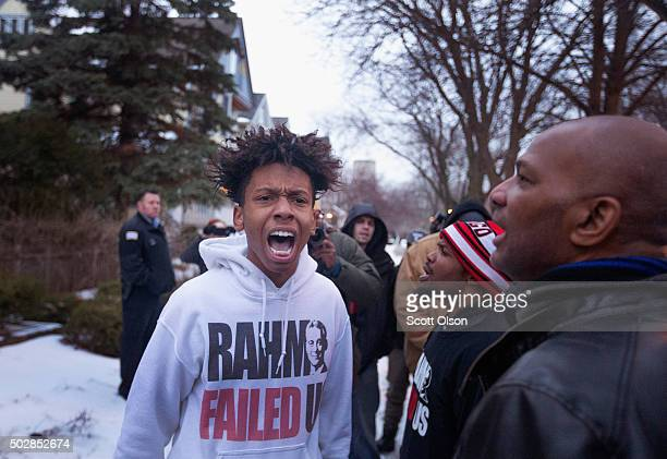 Demonstrators protest outside of Mayor Rahm Emanuel's home on December 29 2015 in Chicago Illinois Emanuel was expected to return home after cutting...