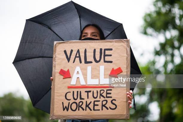 Demonstrators protest outside the Tate Modern over proposed job losses in the wake of the COVID-19 lockdown, on July 27, 2020 in London, England. The...
