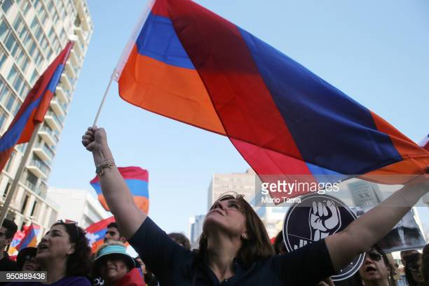 Demonstrators protest outside the Turkish Consulate during a rally commemorating the 103rd anniversary of the Armenian genocide on April 24 2018 in...