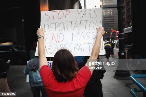 Demonstrators protest President Donald Trump's proposed policies on combating crime and immigration on February 21 2017 in Chicago Illinois Eight...