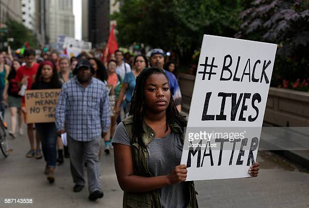 Demonstrators protest the fatal police shooting of Paul O'Neal August 7 2016 in Chicago Illinois O'Neal an unarmed 18yearold man was shot and fatally...
