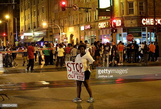 Demonstrators protest the fatal police shooting of Paul O'Neal on August 5 2016 in Chicago Illinois O'Neal an unarmed 18yearold man was shot and...