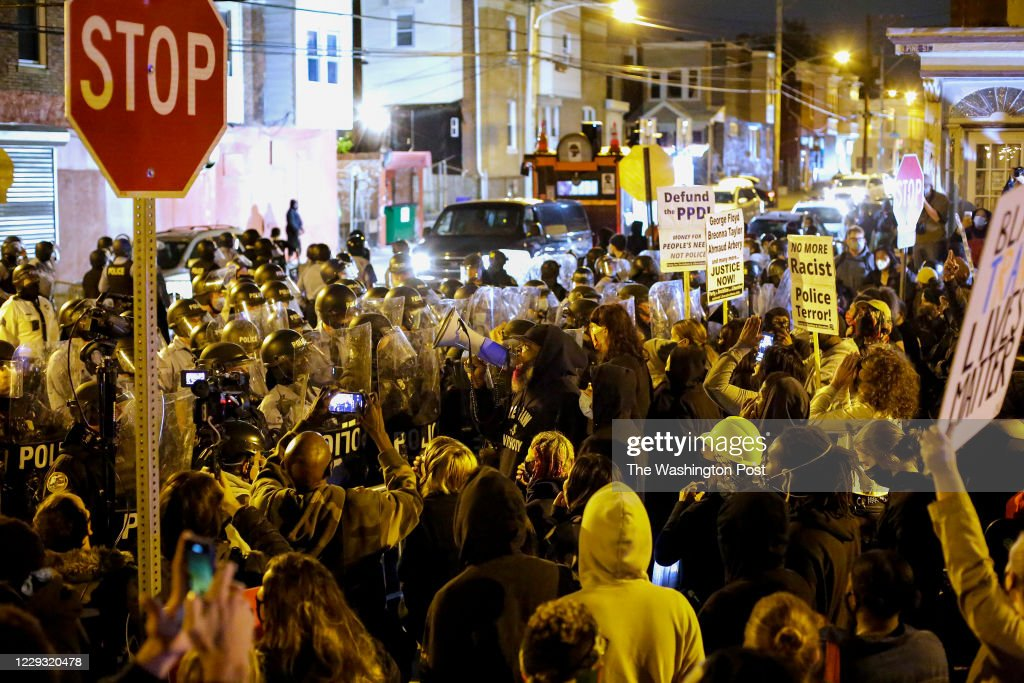 Demonstrators Protest The Fatal Police Shooting Of Walter Wallace Jr. In Philadelphia. : News Photo