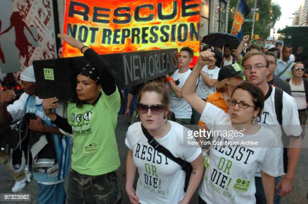 Demonstrators protest the government's response to the crisis in the Gulf Coast in the wake of Hurricane Katrina during a rally in Union Square and...