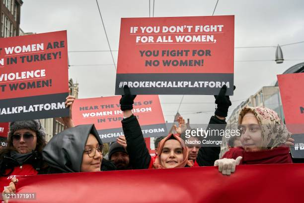 Demonstrators protest the lack of women's rights in Turkey during the International Women's Day celebration on March 8, 2020 in Amsterdam,...