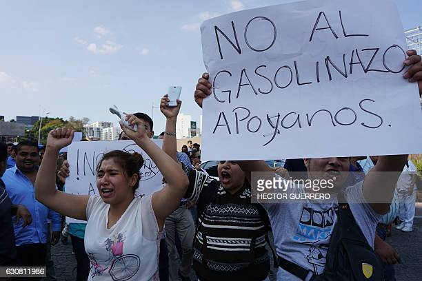 Demonstrators protest the rise in fuel prices in Guadalajara Mexico on January 2 2017 On January 1 2017 fuel prices in Mexico went up 201% for...