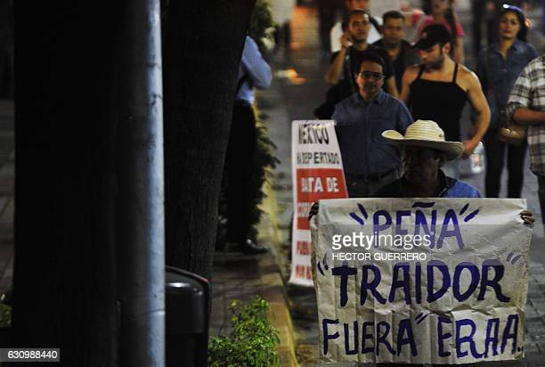Demonstrators protest the rise in fuel prices in Guadalajara Mexico on January 4 2017 On January 1 2017 fuel prices in Mexico went up 201% for...