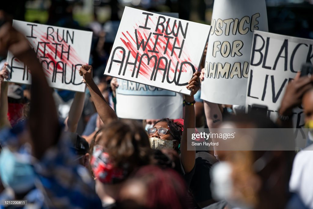 Georgia NAACP Holds Protest For Shooting Death Of Jogger Ahmaud Arbery : News Photo