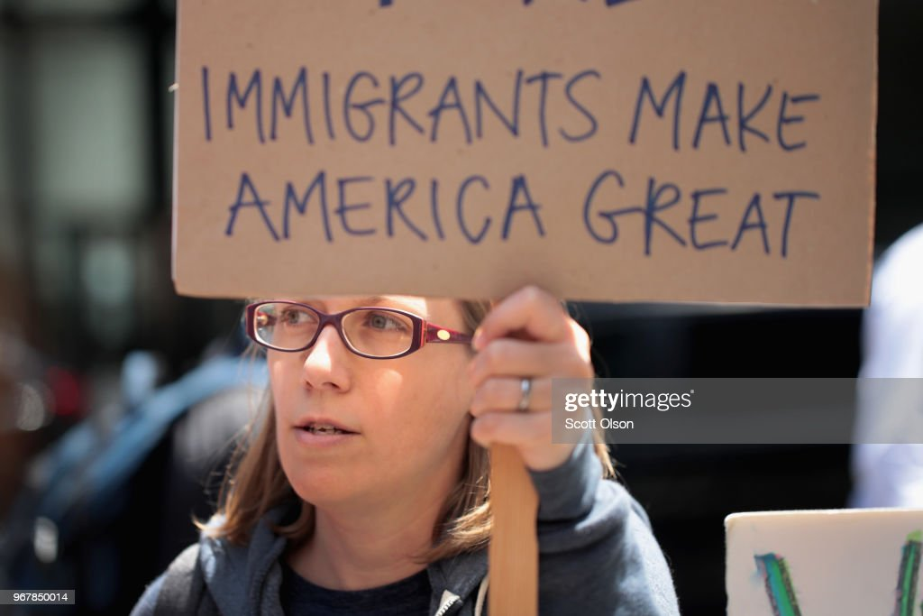 Demonstrators protest Trump administration policy that enables federal agents to separate undocumented migrant children from their parents at the border on June 5, 2018 in Chicago, Illinois. The tough stance on immigration issues has been seen as popular with much of his base support.