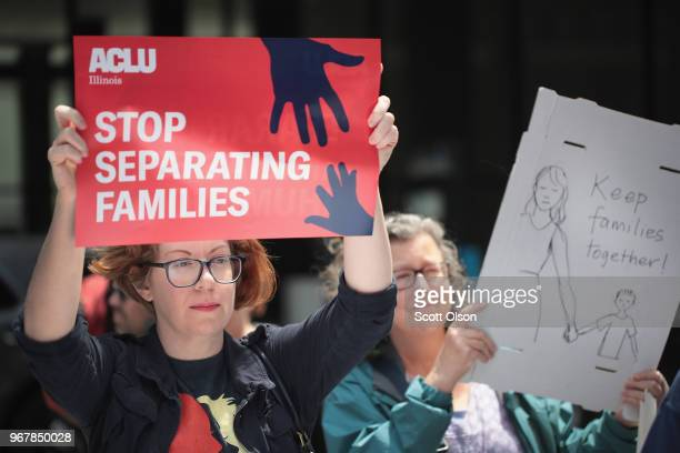 Demonstrators protest Trump administration policy that enables federal agents to separate undocumented migrant children from their parents at the...