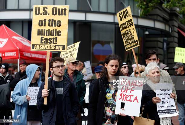 Demonstrators protest US military involvement in the Syrian war in San Francisco California on April 7 2017 The United States fired 59 Tomahawk...